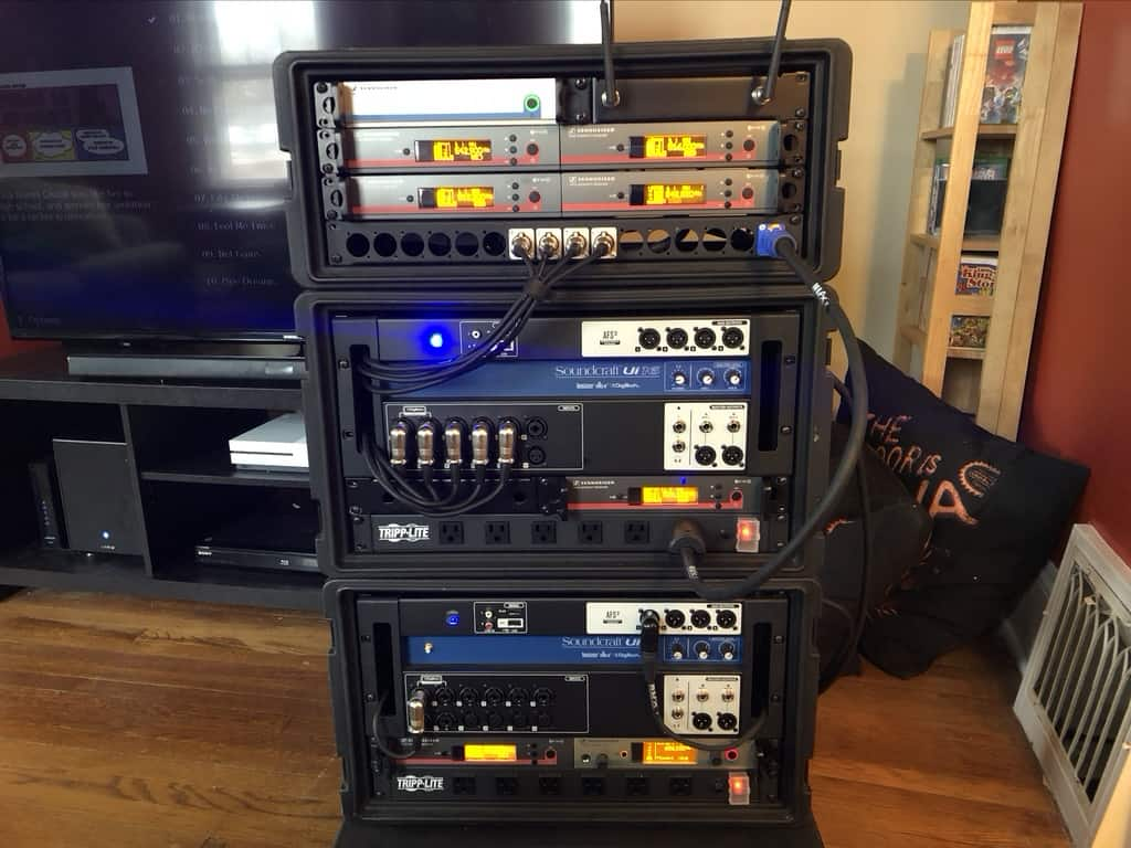 Racked up equipment.
